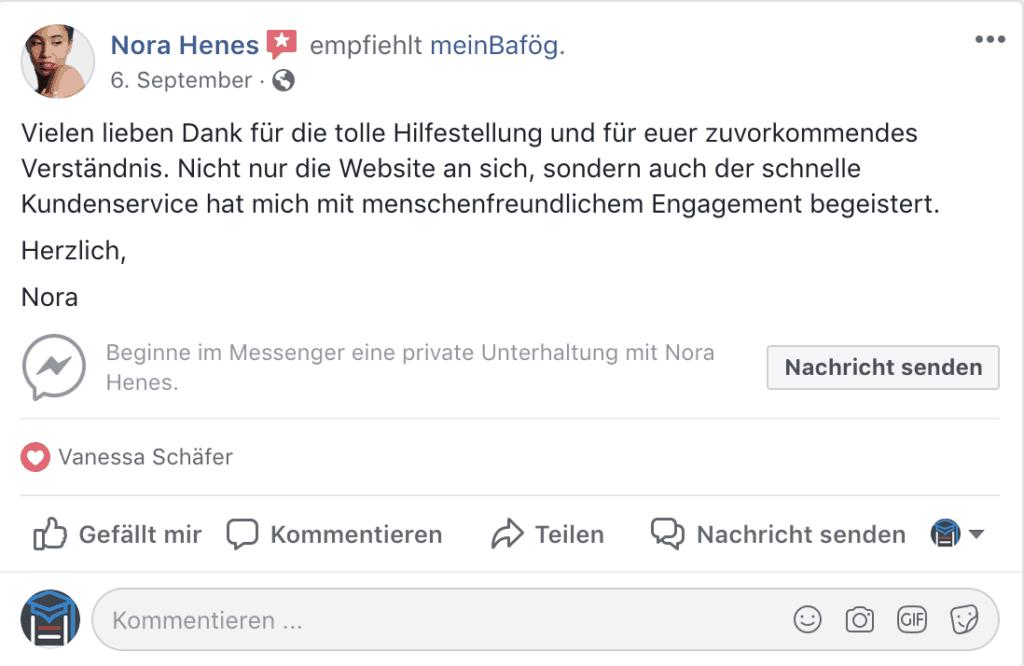 meinBafög Erfahrung facebook 1