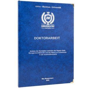 Eine Doktorarbeit mit Hardcover Buchecken